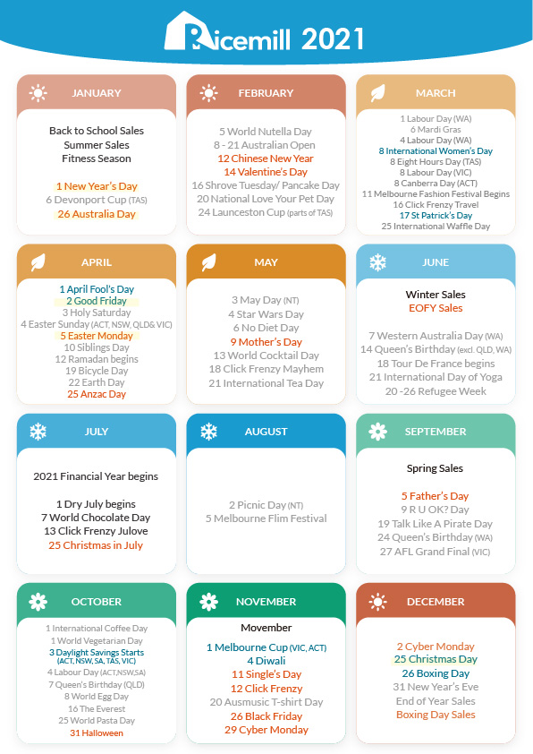 2021 eCommerce Marketing Calendar by Ricemill inventory software